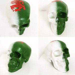 Welsh Green & White Skull with Dragon Vinyl by Haus of Skulls