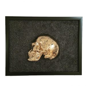 Handmade 3D Frame - Half Gold Skull With Black Splatters On Black Glitter by Haus of Skulls