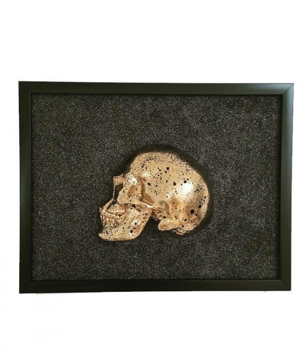 Handmade 3D Frame - Half Gold Skull With Black Splatters On Black Glitter by Haus of Skulls