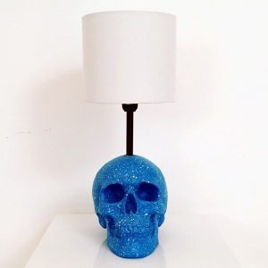 Handmade Blue & White Splatter Lamp by Haus of Skulls