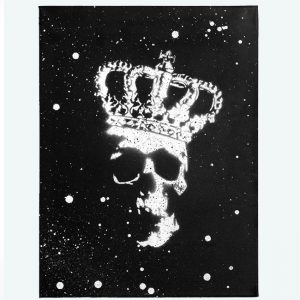 Black & White Skull Crown Canvas by Haus of Skulls